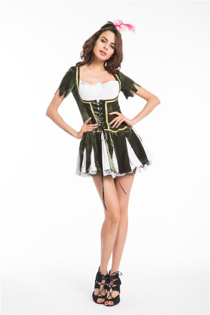e83872ab8a5 Free shipping Robin Hood Costume Ladies Fancy Dress Medieval Book Character Womens  Adults Costume New S-4XL