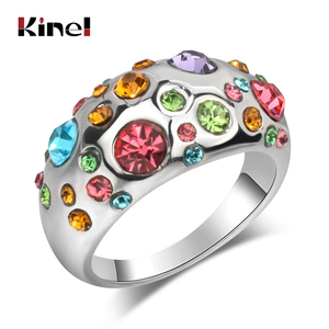 Kinel Luxury Fashion Silver Color Crystal Rings For Women Wedding Finger Anel Aneis Jewelry For Love Two Gift 2017 New