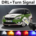 Para skoda fabia 1 2 volkswagen polo 2011-2015 LED DRL Luz de circulación Diurna y Direccionales Luz Recuerde lámpara de Xenón blanco + Ámbar