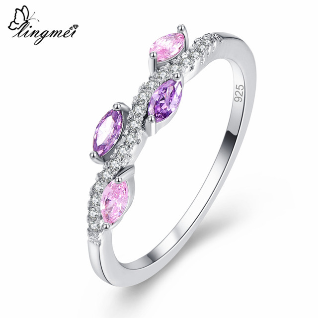 lingmei 2017 New Marquise Cut Pink & Purple & Gold & Champagne & White CZ Silver