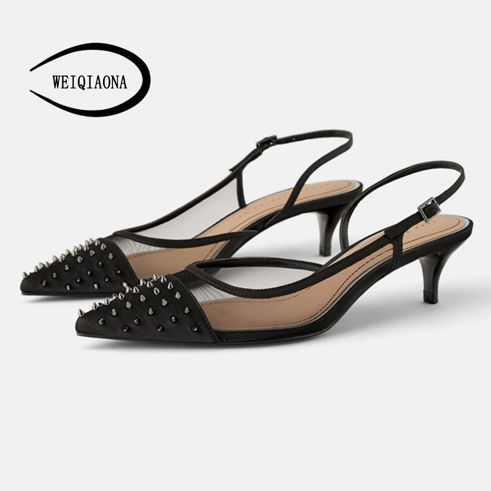 WEIQIAONA Spring And Summer Low Heel Stiletto Pointed Shoes Gauze Breathable Metal Anti-wolf Nail Rivets Sandals Foot Ring Strap