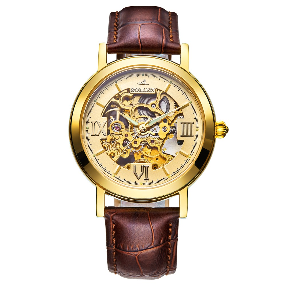 S0LLEN Gold Hollow Automatic Mechanical Watches Men Luxury Brand Leather Strap Casual Vintage Skeleton Watch Clock relogio forsining gold hollow automatic mechanical watches men luxury brand steel vintage skeleton watch clock relogio masculino hodinky