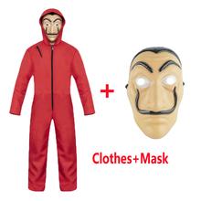 Salvador Dali Cosplay film maska pieniądze Heist dom papieru La Casa de papel kostium Cosplay maska dla dzieci dorosły tanie tanio W NWZSM Mężczyzn Kombinezony Rompers Sets Movie TV Poliester DL98 Costumes
