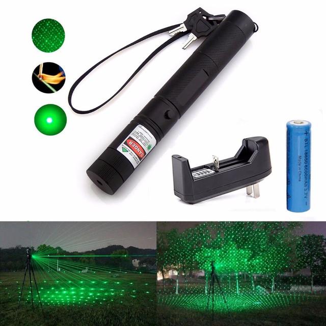 Militar 532nm 50 mw 303 Green Laser Pointer Pen Lazer Feixe Queima Fósforo Aceso + Carregador + 18650 Bateria
