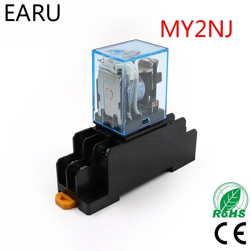 MY2P סליל ממסר MY2NJ HH52P ממסר DPDT מיקרו מיני כללי אלקטרומגנטית מתג עם שקע בסיס LED AC 110 V 220 V DC 12 V 24 V