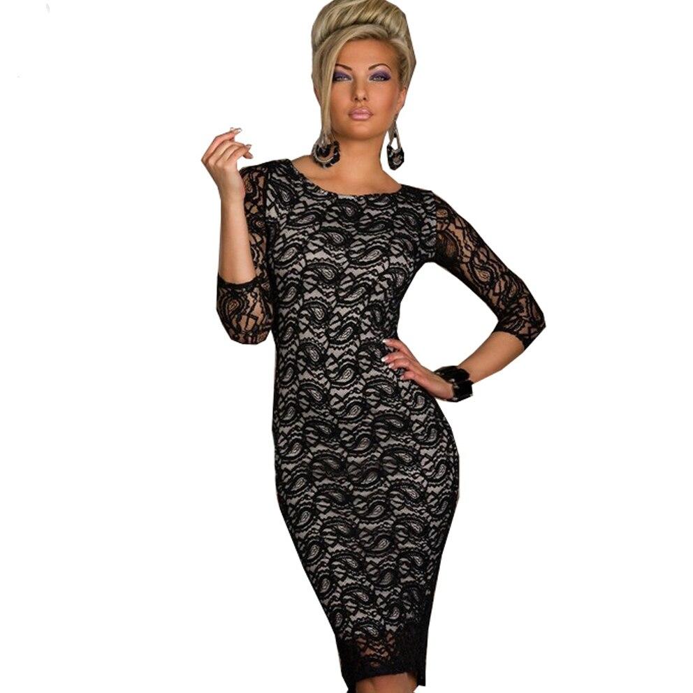 Hot Sale Plus Size M L XL XXL Fashion Lady Women Sexy Lace Dress Party Bodycon