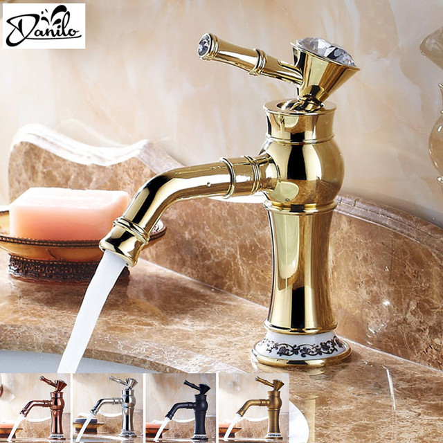 Elegant Modern Luxury Gold Crystal Hot Cold Bathroom Faucet ...