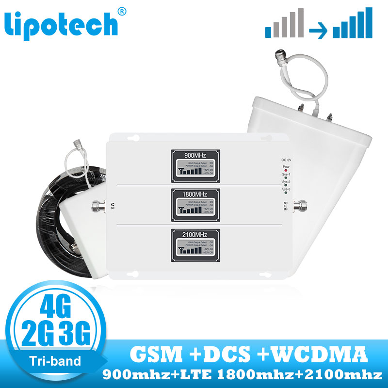 GSM 900 1800 2100 WCDMA DCS Repetidor de Sinal de Celular 2G 3G 4G Tri band Telefone Celular Impulsionador amplificador de Antena de internet Conjunto
