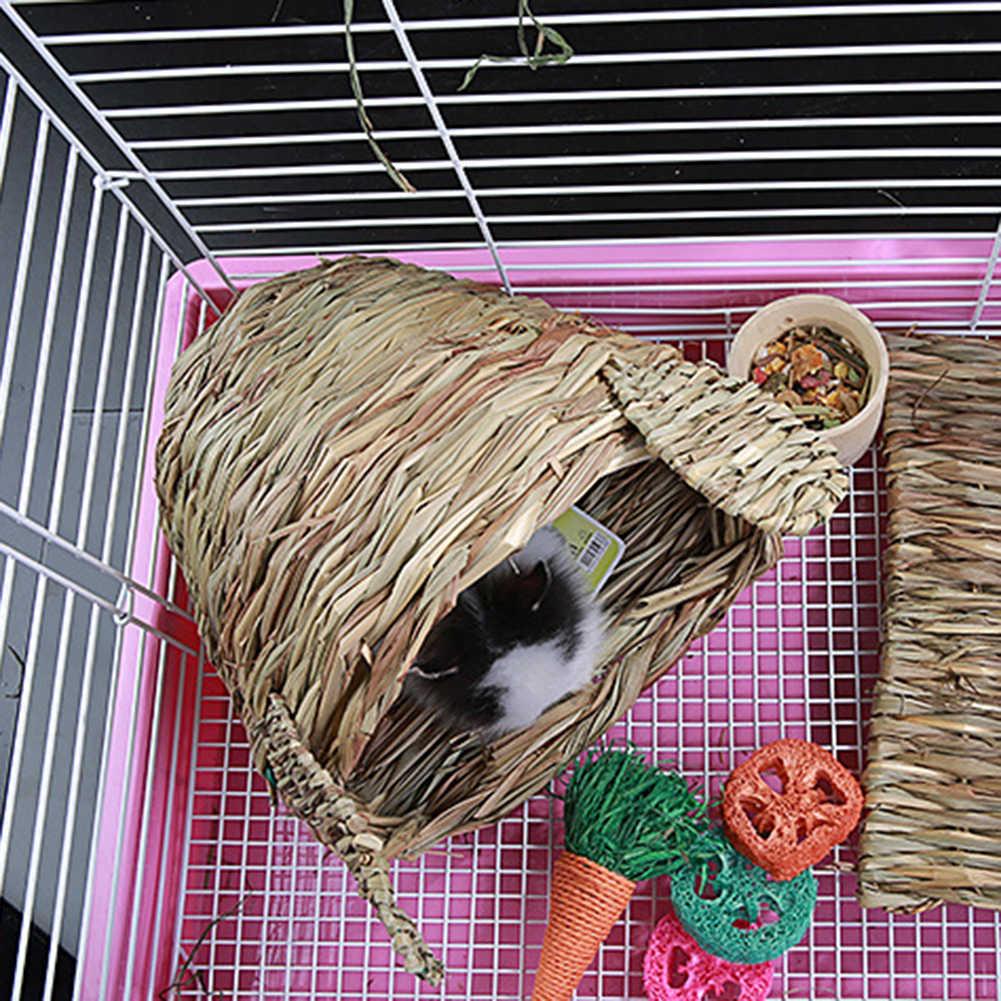 Artesanato tecido grama ninho de hamster pequeno 1 pc pet coelho hamster gaiola casa mastigar brinquedos dobrável porco rato hedgehogs chinchila cama