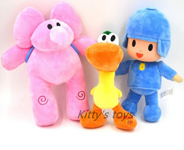 3pcs/lot 10inch 25cm Free Shipping 3pcs/set Pocoyo Elly Pato Soft Plush Stuffed Toy Doll ...