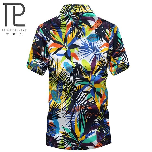 Mens Hawaiian Shirt Male Casual camisa masculina  Printed Beach Shirts Short Sleeve brand clothing Free Shipping Asian Size 5XL 1
