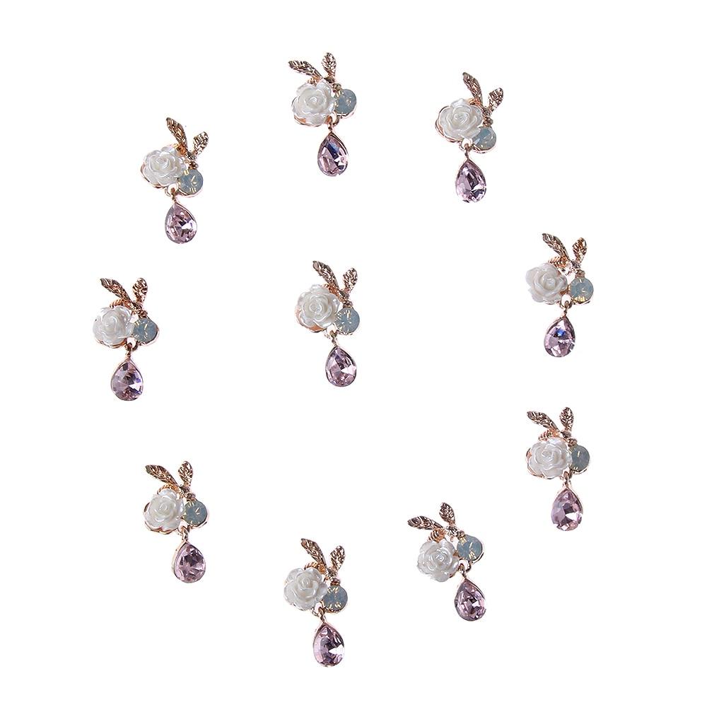 10 шт./компл. цветочным принтом в стиле «Сделай Сам стразы пуговицы с перламутровыми пуговицами сплава со стразами идеально сочетаются с нарядным с украшением в виде кристаллов; Свадебные украшения швейный Декор Аксессуары - Цвет: style5