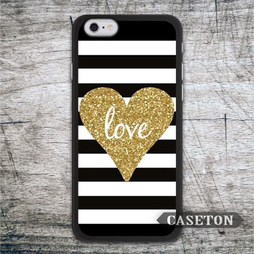 Golden Heart Glitter Case For iPhone 7 6 6s Plus 5 5s SE 5c and For iPod 5 High Quality Classic Striped Cover