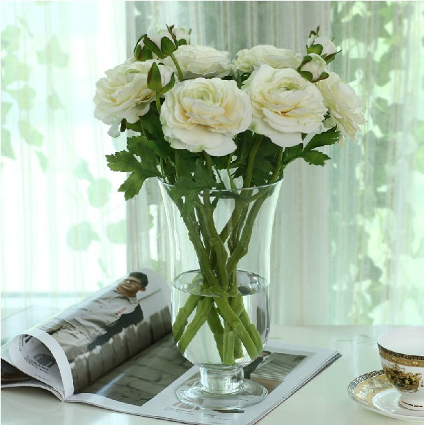 6 pcs/lot) fresh silk/artificial fabric roseflowers datura flowers Artificial Indoor Flowers