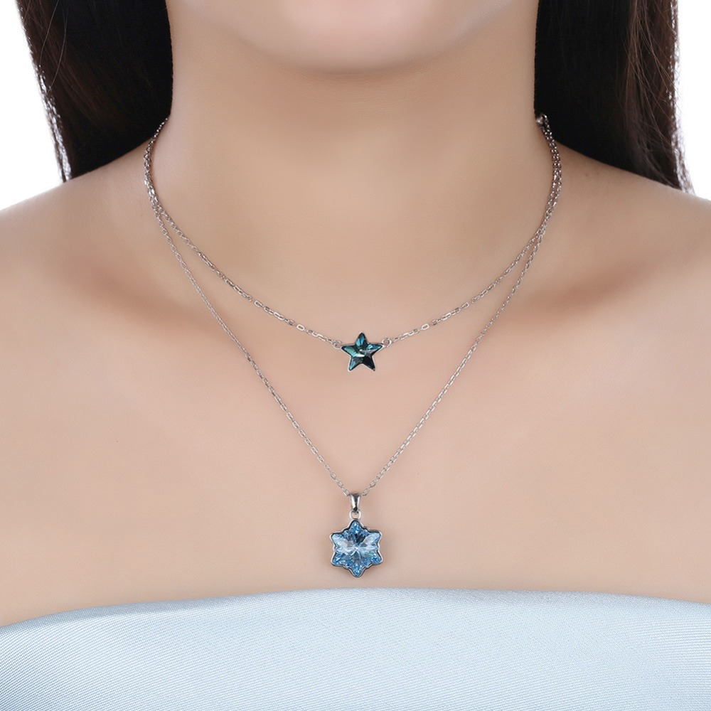 Bijoux fantaisie meilleure qualité 100% 925 cristaux en argent sterling de Swarovski Explosion modèles étoiles flocons de neige double collier