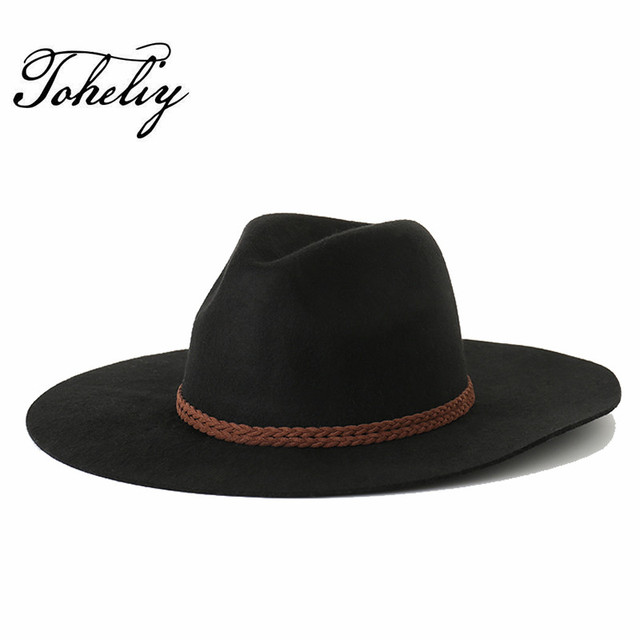 213dc72763dd9 Autumn winter New Wool Weave Rope Flat Top Hat For Women s Felt Wide Brim  Fedora Hat Laday Bowler Gambler Top Hat