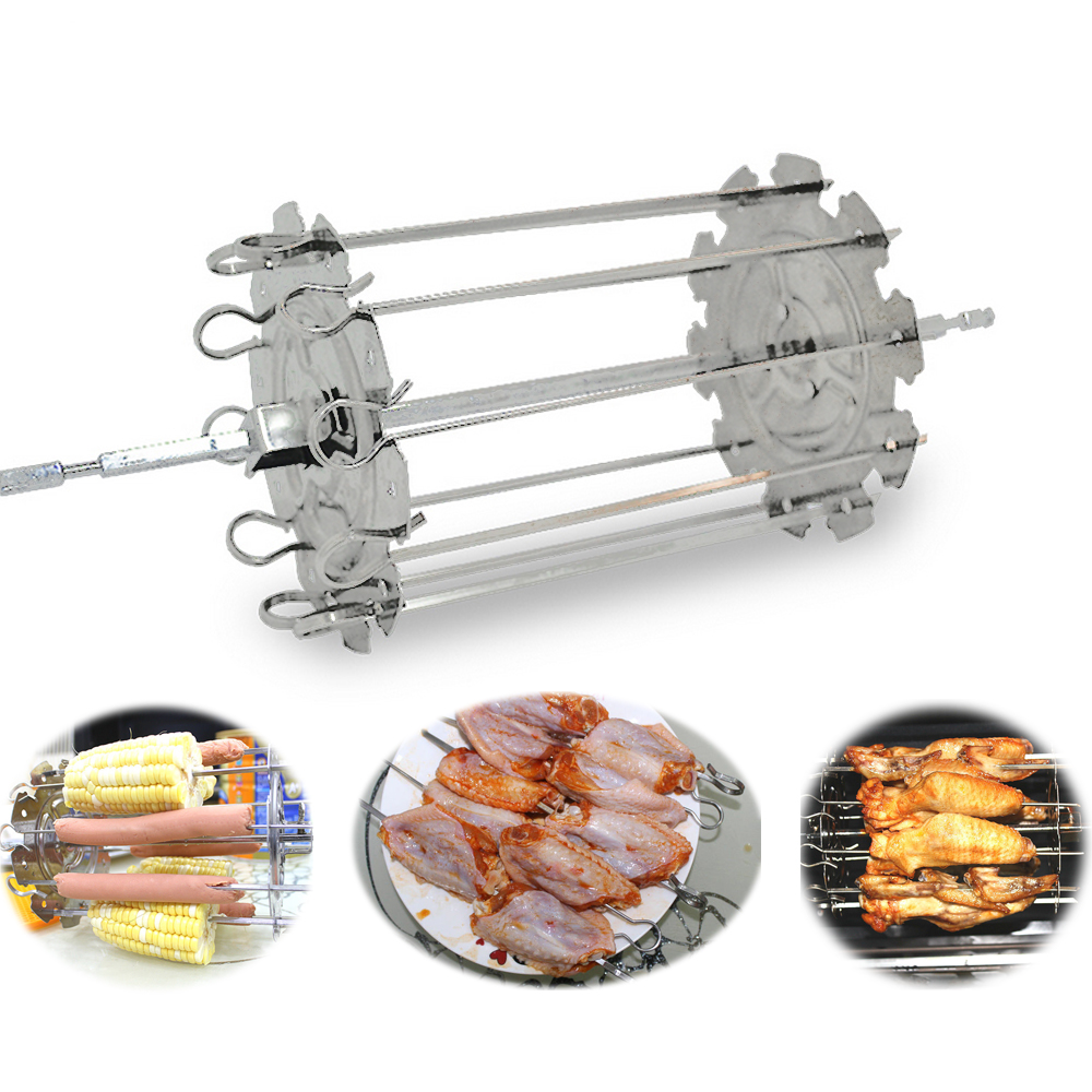 Food Grade 304 Stainless Steel Grill Roaster Drum BBQ Rotisserie Oven Kebob Skewers Roast Cage Rotary Baking Chicken Wings Tools