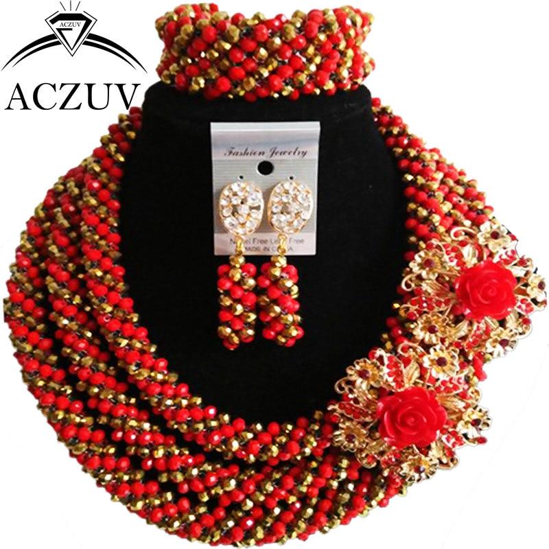 Здесь можно купить  ACZUV Latest Red Golden Crystal Wedding Beads African Jewelry Set for Brides Nigerian Necklace and Earrings Bracelet A3R017  Ювелирные изделия и часы