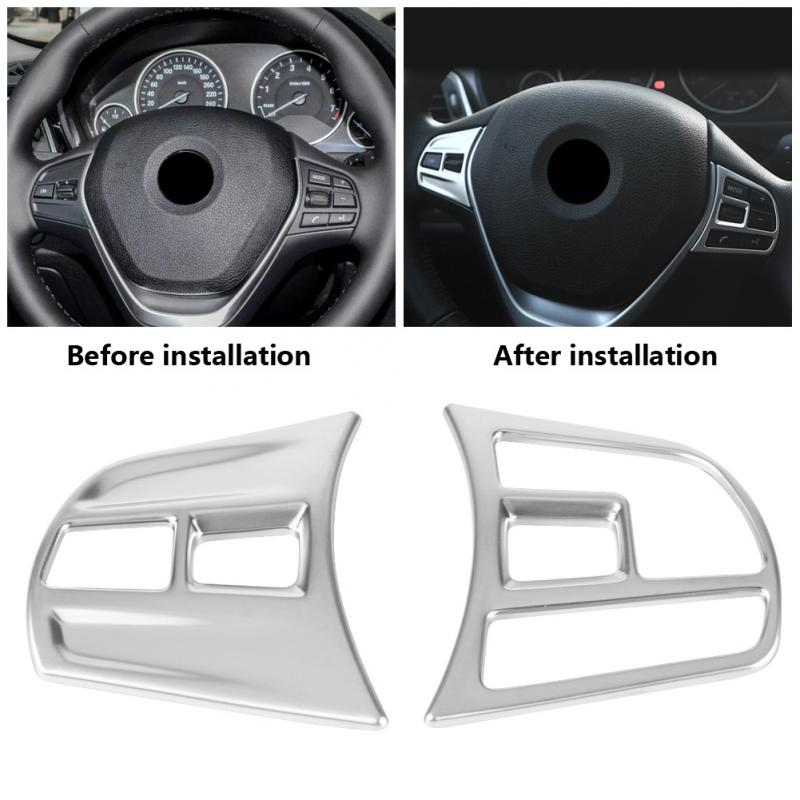 Matte Chrome Interior Steering Wheel Button Cover Trim for <font><b>BMW</b></font> 3 Series / <font><b>GT</b></font> F30 <font><b>F34</b></font> 2013-2018 image