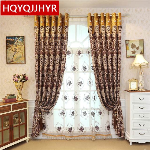 Royal European 3D Embossed Luxury Jacquard Blackout Curtains For Living  Room Window Curtain Bedroom Window Curtain