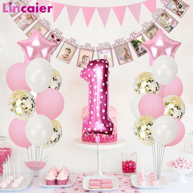 1st aniversário menina festa decorações rosa feliz aniversário balões definir 12 meses moldura da foto banner primeiro bebê meu 1 um ano diy