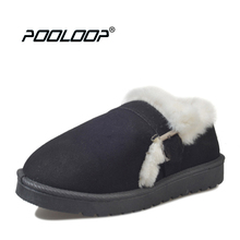 POOLOOP Causal Indoor Slippers Women Slip On Winter Shoes Suede Leather House Warm Moccasins Girls Cute Fuzzy Slippers