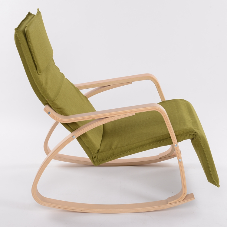 Modern Rocking Chair Fabric Cushion Natural Finish Adjustable Footrest Garden  Furniture Comfortable Relax Lounge Chair Recliners In Garden Chairs From ...
