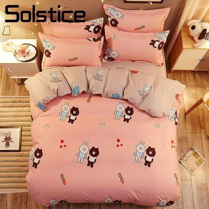 Solstice Home Textile Bear Rabbit Pink Bedlinen Kid Teen Girl Bedding Sets King Queen Twin Size Duvet Cover Bed Sheet Pillowcase