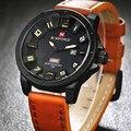 2016 luxo marca Men Sports relógios Men Quartz Hour data relógio Masculino pulseira de couro Casual relógio de pulso militar Relogio Masculino