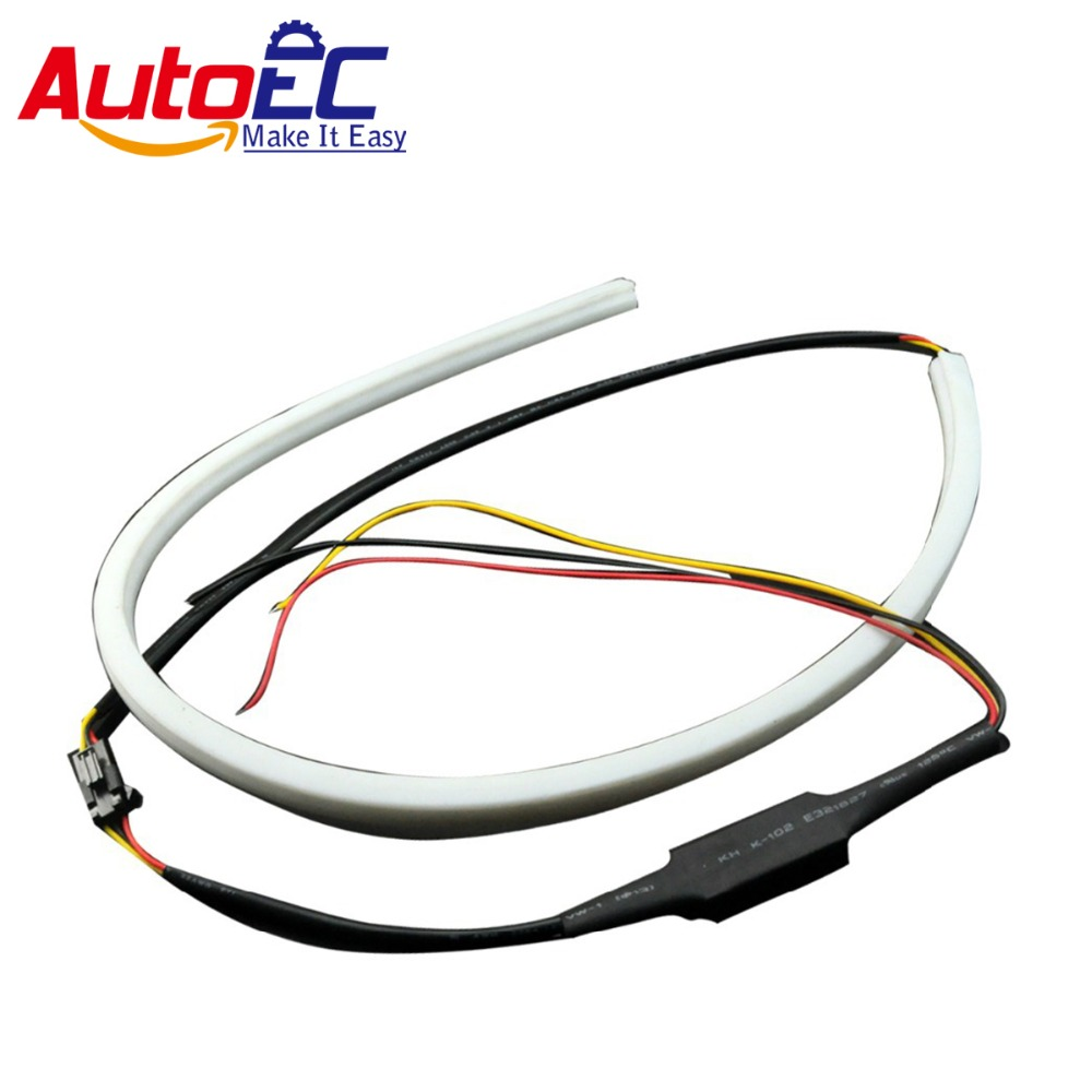 AutoEC 60cm 120smd Flexible Tear Strip DRL Daytime running Light lamp Switchback super bright 12v #LM48 6pcs 60cm flexible tear strip switchback daytime running light drl with turn signal light 7 dual color fd 4767