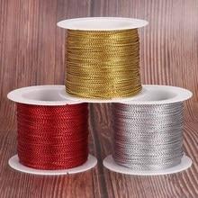 20 метров 1 мм канат золото/серебро/красный шнур нить веревка шнур ремень лента веревка бирка линейный браслет Изготовление не скользит одежда подарок