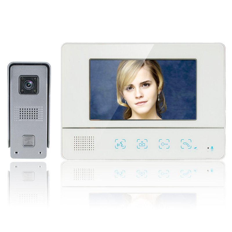 Mountainone One to One Video Doorbell 7 Inch TFT Touch Screen Color Video Door Phone Cmos Night Version Camera Intercom system 7 inch tft touch screen lcd color video door phone doorbell wall mounted intercom system night vision eye camera doorphone