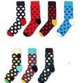 7 pares de Colores de Punto de Los Hombres de moda calcetines Raya de las mujeres calcetines Corea los amantes de las mujeres larga de algodón nuevo de alta calidad calcetines de los hombres soc