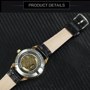 Image 5 - Vencedor oficial relógio mecânico automático masculino esqueleto relógios dos homens marca superior luxo pulseira de couro analógico relógios de pulso para o homem