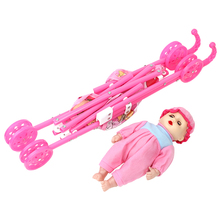 Trolley Pink Baby Stroller Foldable Pushchair Nursery Cart Bag Girls Toy Dolls Accesoires Furniture Toy Baby Birthday Kids Gifts