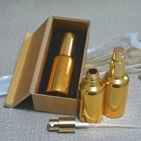 4ピース50ミリリットル高温ゴールドメッキ噴霧器スプレーボトルで木箱、空の詰め替えガラスボトル、香水サブパッケージ