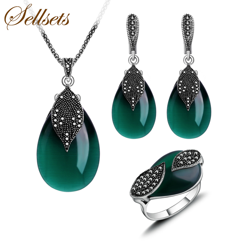 Seelsets Natural Stone Jewellery Vintage Silver Color Green Opal Jewelry Set Women Water Drop Shape Pendant Necklace Sets