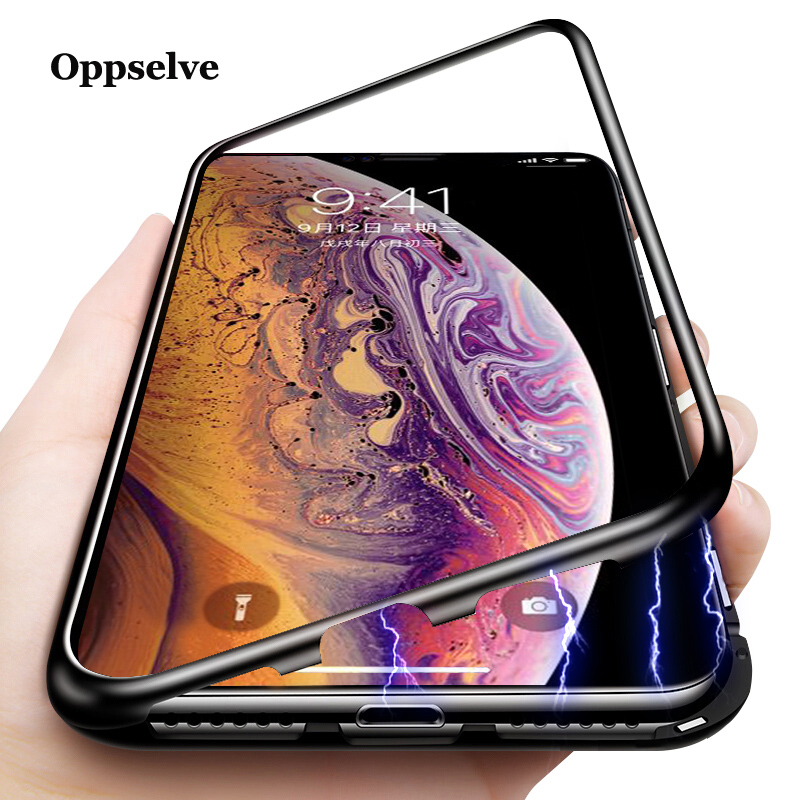 <font><b>360</b></font> Magnetic Adsorption Case For iPhone X 8 7 6 <font><b>6s</b></font> Plus Luxury Metal Magnet magneto Frame Back Glass Cover Flip Case For iPhoneX image