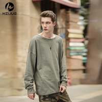 HZIJUE 2017 Men Pullover O Neck Classic Long Hoodies Kanye West Style Personality Loose Tees Oversize