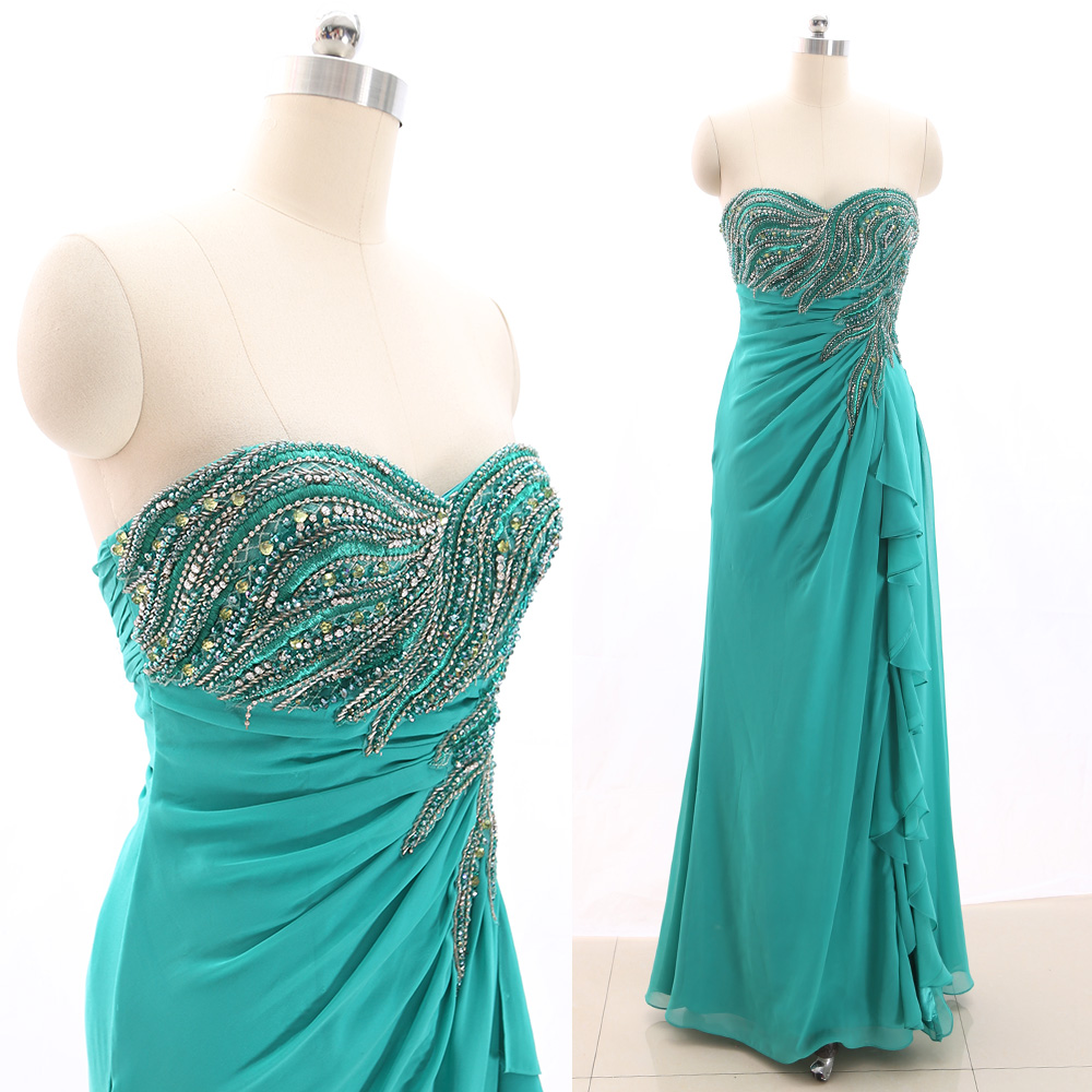 MACloth Green A-Line Strapless Floor-Length Long Crystal Chiffon   Prom     Dresses     Dress   M 266368 Clearance