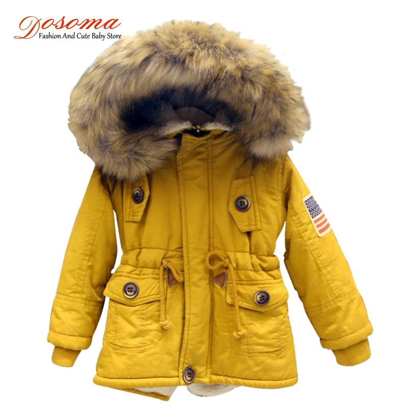 2-8T girls boys coats and jackets 2017 autumn winter Korean boys USA flag hooded coat thick cotton warmer kids winter coat girls