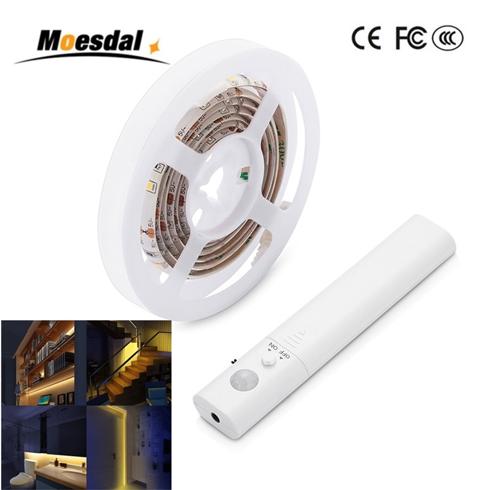 Moesdal 2835 RGB LED Strip Light Motion Sensor IP65 Waterproof Timing Function LED Tape Lamp Night Light For Bed Room Stairs