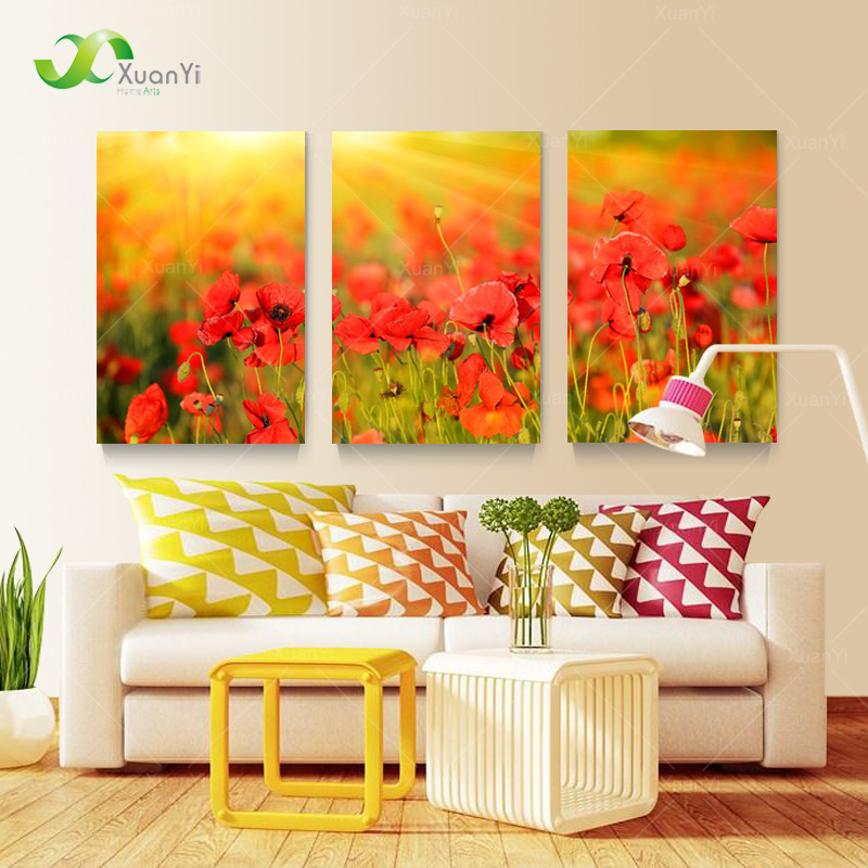 3 Panel Art Canvas Modern Printed Flower Painting Canvas Wall Art ...