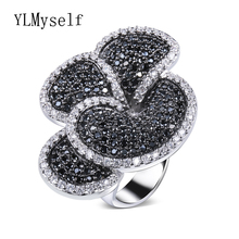 Great Product Flower Big ring Pave AAA Jet and Clear cubic zirconia stones Large Party Rings designer jewelry fast delivery