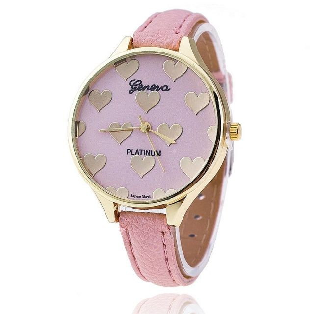 1 PCS Cute New Heart Shape Women Slim Leather Band Geneva Quartz Analog Casual B
