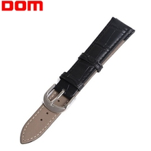 DOM Genuine Leather Watchband Men Women Watch Band 22mm 20mm 18mm 16mm 14mm Black Brown Wrist Strap Accessories