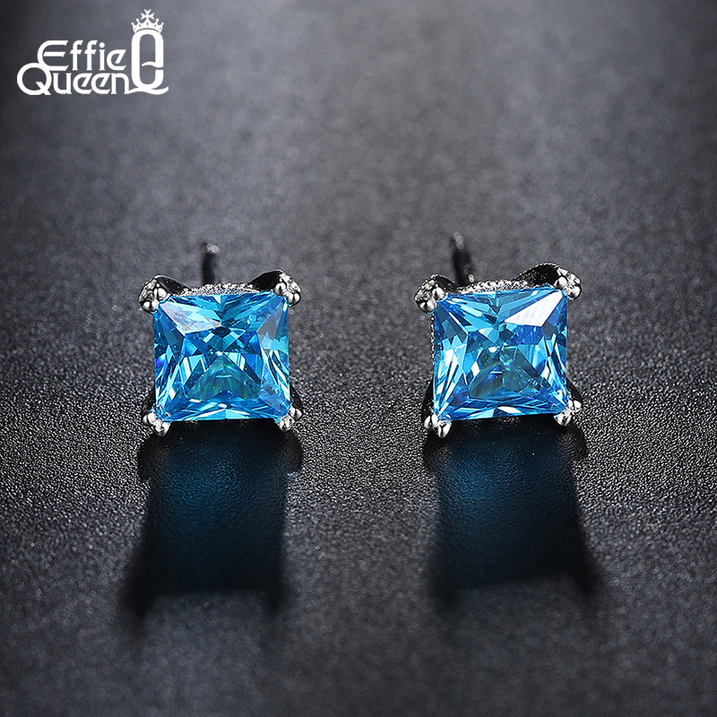 premier coup d'oeil bonne vente correspondant en couleur US $10.49 45% OFF|Effie Queen Jewelry Set Zircon Bijoux Blue Crystal  Wedding Accessories Stud Earrings And Rings For Women DS114-in Jewelry Sets  from ...