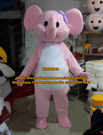 attractive pink elephant elephish mascot costume cartoon character