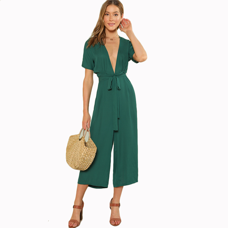 b107c3626c COLROVIE Plunge Neck Belted Culotte Jumpsuit Women Green Deep V Neck Sexy  Jumpsuit 2018 New Short Sleeve Knot Summer Jumpsuit