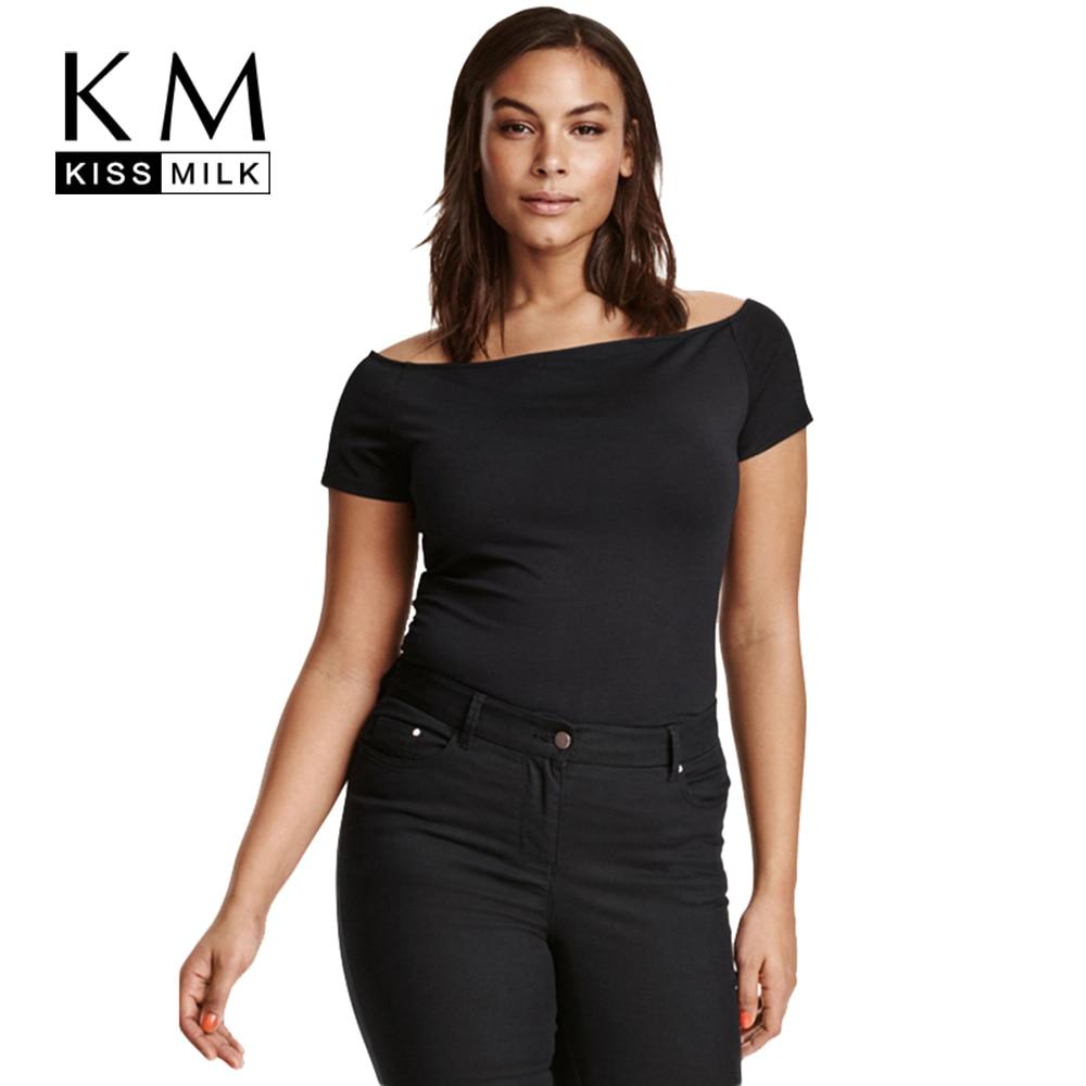 Kissmilk Plus Size Women Clothing Casual Solid Sexy T-shirt Slash Neck Off Shoulder Short Sleeve Tops Big Size T-shirt 5XL 6XL